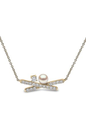 Yoko London 18kt yellow Sleek Akoya pearl diamond necklace