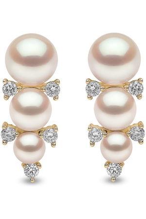 Yoko London Women Earrings - 18kt yellow Sleek akoya pearl diamond stud earrings