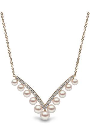 Yoko London 18kt yellow Sleek Akoya pearl and diamond necklace