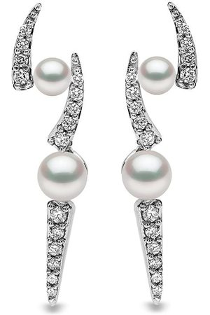 Yoko London 18kt white gold diamond Akoya pearl Sleek stud earrings
