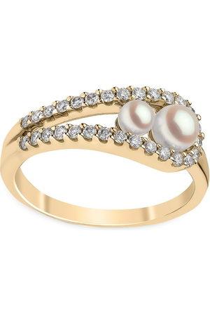 Yoko London 18kt yellow Sleek Akoya pearl diamond ring