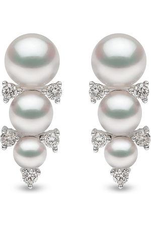 Yoko London Women Earrings - 18kt white gold Sleek Akoya pearl and diamond stud earrings