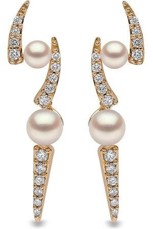 Yoko London 18kt yellow Sleek Akoya pearl and diamond earrings