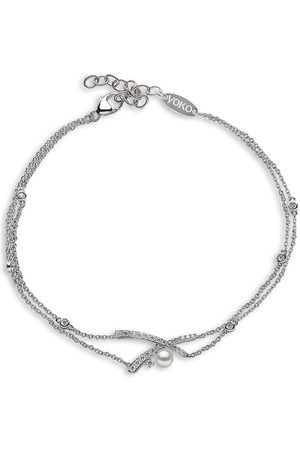Yoko London 18kt white gold diamond Akoya pearl Sleek bracelet