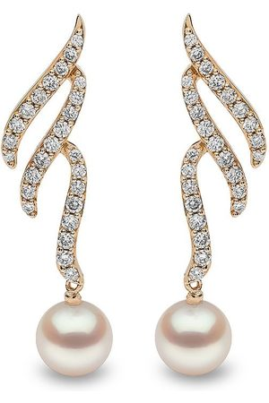 Yoko London Women Earrings - 18kt yellow Sleek Akoya pearl and diamond earrings