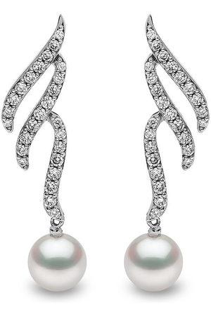 Yoko London Women Earrings - 18kt white gold Sleek Akoya pearl diamond earrings