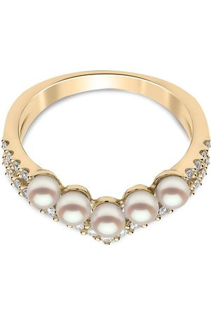 Yoko London Women Rings - 18kt yellow Sleek Akoya pearl and diamond ring