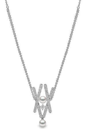 Yoko London 18kt white gold Sleek Akoya pearl diamond pendant necklace