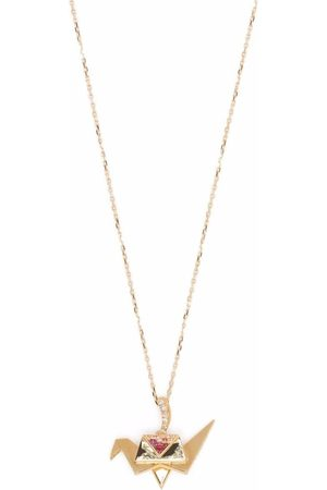 Aurélie Bidermann 18kt yellow Origami pink sapphire and diamond necklace