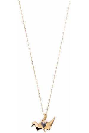 Aurelie Bidermann 18kt yellow Origami sapphire and diamond necklace