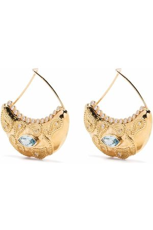 Aurelie Bidermann 18kt yellow Cashmere diamond and aquamarine earrings