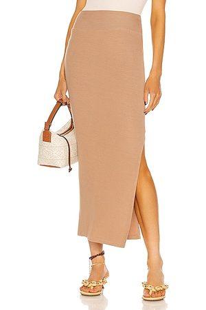 ENZA COSTA For FWRD Silk Rib Pencil Skirt in Tan