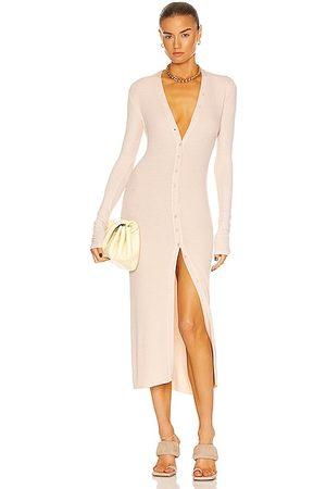 ENZA COSTA For FWRD Silk Rib Cardigan Midi Dress in Porcelain