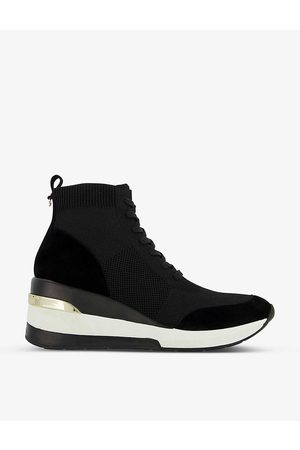 Dune Enlicia woven mid-wedge sock trainers