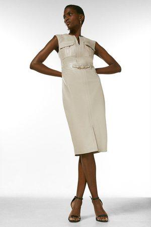 Karen Millen Women Skirts - Karen Millen Leather Snaffle Trim Pocket Dress -, Nude