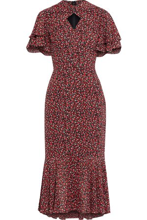 MIKAEL AGHAL Woman Fluted Ruffled Floral-print Crepon Midi Dress Tomato Size 10