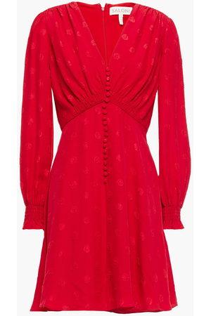 SALONI Woman Eve Gathered Silk-satin Jacquard Mini Dress Tomato Size 10