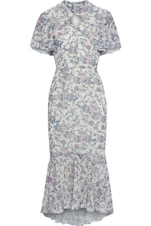 MIKAEL AGHAL Woman Fluted Ruffled Printed Crepe Midi Dress Size 10