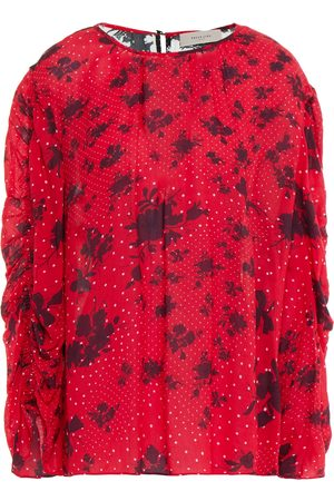 Preen Line Woman Margie Ruched Printed Crepe De Chine Blouse Size M
