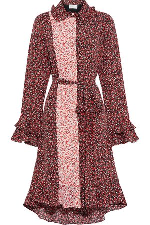 MIKAEL AGHAL Woman Belted Ruffled Floral-print Crepe De Chine Shirt Dress Tomato Size 10