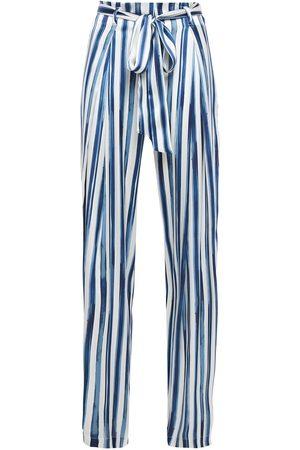 we are LEONE Woman Luke Belted Striped Stretch-silk Satin Wide-leg Pants Ivory Size L