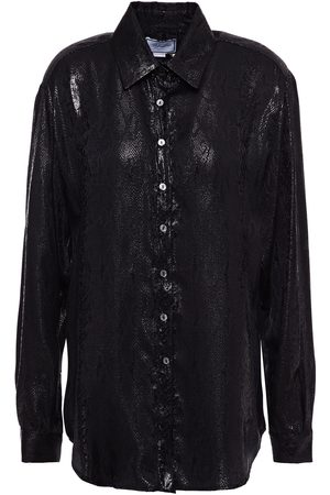 Redemption Woman Metallic Snake-print Silk-blend Jacquard Shirt Size 38