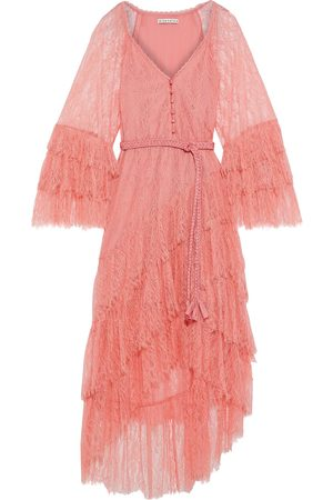 ALICE+OLIVIA Woman Onica Asymmetric Tiered Belted Corded Lace Dress Bubblegum Size 0