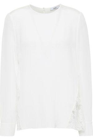 Erdem Woman Tia Lace-paneled Silk-cady Top Size 8