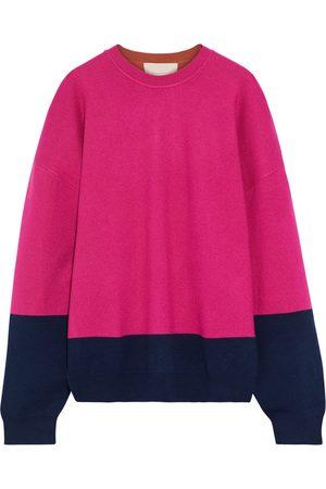 Roksanda Woman Oversized Color-block Knitted Sweater Fuchsia Size L