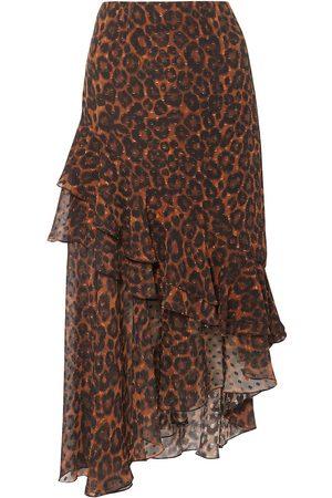 Erdem Woman Antoinette Asymmetric Leopard-print Fil Coupé Silk-chiffon Skirt Size 10