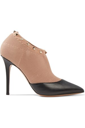 VALENTINO GARAVANI Woman Rockstud Stretch-knit And Leather Ankle Boots Size 36