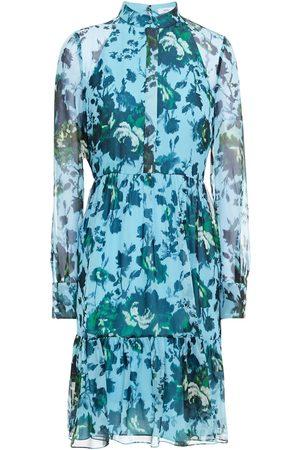 Erdem Woman Devika Gathered Floral-print Silk-chiffon Dress Slate Size 10
