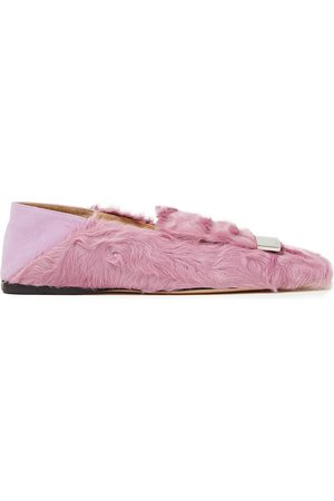 Sergio Rossi Woman Sr1 Embellished Shearling Collapsible-heel Loafers Lilac Size 34