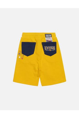 Evisu Godhead Print Color Blocking Sweat Shorts
