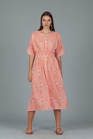 DREAM AN287C HANOI Short Sleeve Maxi Dress Coral