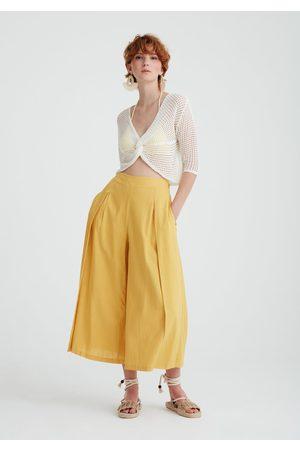 Paisie Women Trousers - Linen Blend Culottes