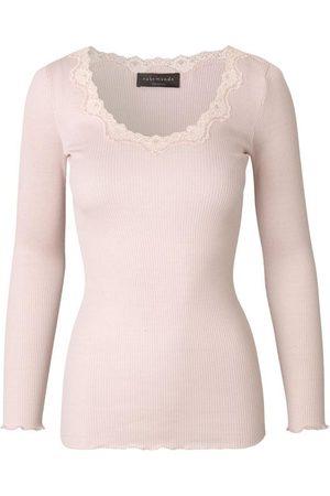 Rosemunde Women Tops - Silk top long sleeve w Lace Soft Rose