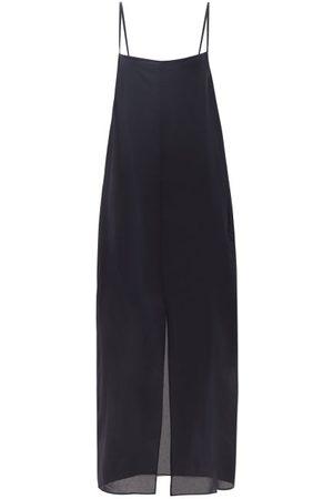 Raey Thin-strap Silk Crepe-de-chine Slip Dress - Womens - Dark Navy