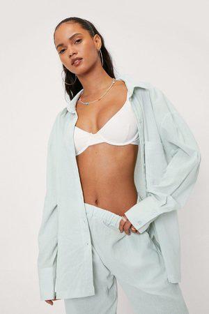 NASTY GAL Women Long sleeves - Womens Crinkle Oversized Long Sleeve Beach Shirt