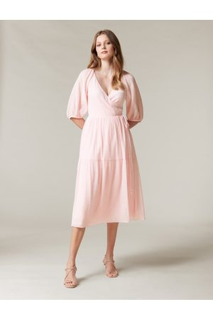 Forever New Women's Cecilia Wrap Midi Dress in , Size 10 Viscose/Polyamide/Polyester