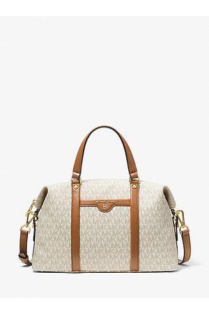 Michael Kors Women Handbags - MK Beck Medium Logo Satchel - Vanilla/acorn - Michael Kors