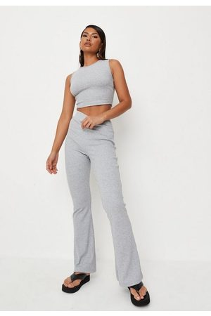 Missguided Rib Racer Neck Top And Flared Trousers Co Ord Set