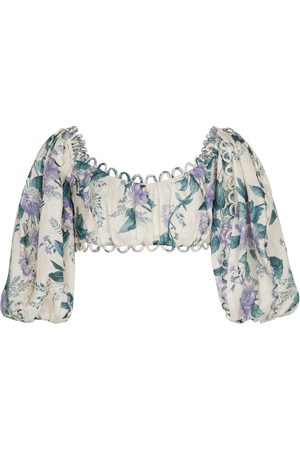 ZIMMERMANN Exclusive to Mytheresa – Cassia floral linen crop top