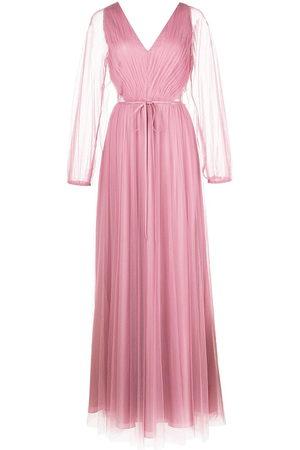 Marchesa Notte Women Evening Dresses - Puff-sleeve sheer-panel gown