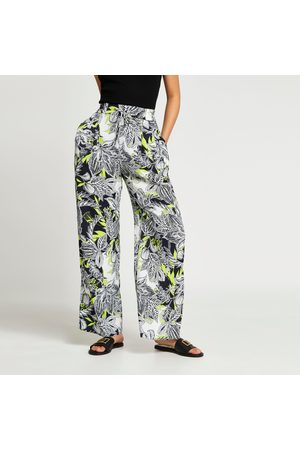 River Island Womens floral print pleated wide leg trousers