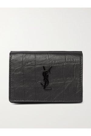 Saint Laurent Men Purses & Wallets - Logo-Appliquéd Croc-Effect Leather Trifold Wallet