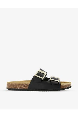 Dune Two-strap logo-engraved leather sandals