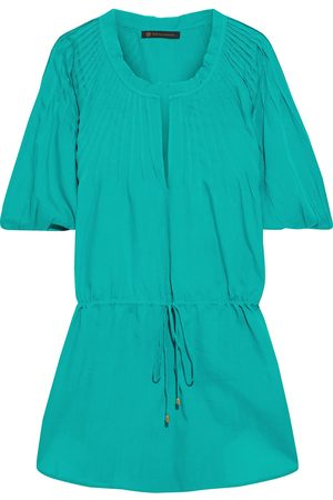 VIX PAULA HERMANNY Woman Sara Pintucked Voile Coverup Turquoise Size L