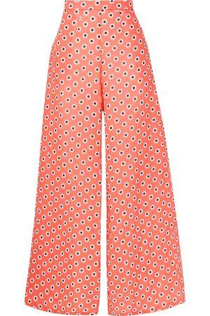 MIGUELINA Woman Pamela Floral-print Linen Wide-leg Pants Coral Size M