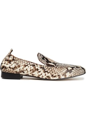 Tory Burch Woman Snake-effect Leather Loafers Animal Print Size 10.5
